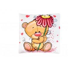 Подушка мишки с цветком